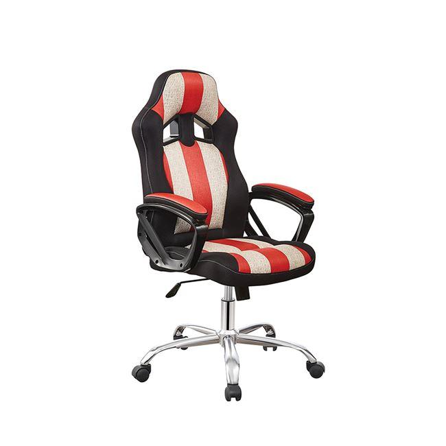 Πολυθρόνα εργασίας από PVC σε χρώμα μαύρο, κόκκινο και λευκό 57x72x114/122