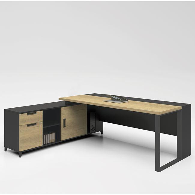 """Γραφείο επαγγελματικό """"PROJECT"""" ανεστρέψιμη γωνία σε χρώμα σονόμα-γκρι 160×70/160x40x75"""
