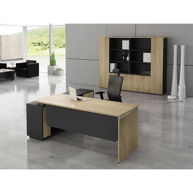 """Γραφείο γωνία δεξιά """"PROJECT"""" σε χρώμα σονόμα/γκρι 220x90/200x40"""