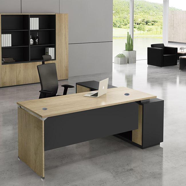 """Γραφείο γωνία αριστερή """"PROJECT"""" σε χρώμα σονόμα/γκρι 180×80/160×40"""