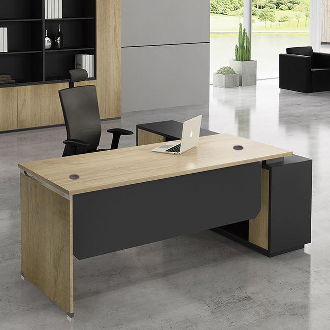 """Γραφείο γωνία αριστερή """"PROJECT"""" σε χρώμα σονόμα/γκρι 160×60/140×40"""