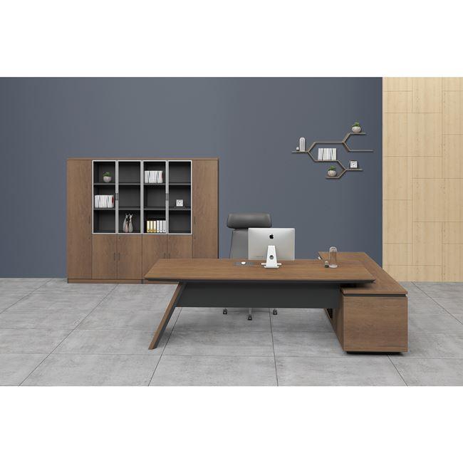 """Γραφείο γωνία αριστερή """"PROLINE"""" σε χρώμα καρυδί/μαύρο 240×95/200×50"""