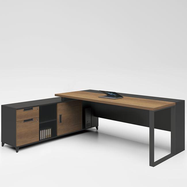 """Γραφείο επαγγελματικό """"PROLINE"""" ανεστρέψιμη γωνία σε χρώμα σκούρο καρυδί -μαύρο 180×70/160x40x75"""