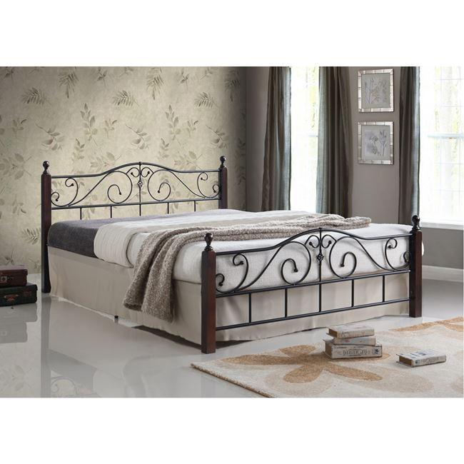 """Κρεβάτι διπλό """"ADEL"""" μεταλλικό-ξύλινο σε καρυδί χρώμα 165x211x92"""