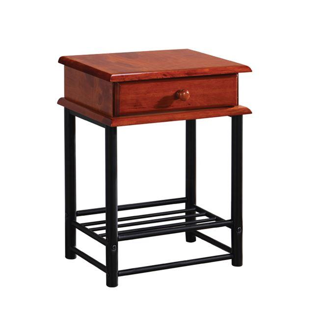 """Κομοδίνο """"FLORA-II"""" ξύλινο-μεταλλικό σε καρυδί χρώμα 33x45x58"""