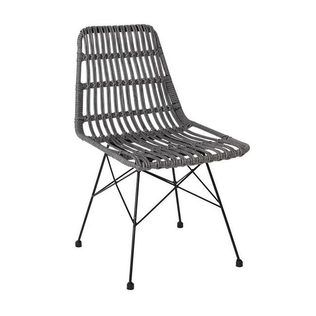 """Καρέκλα κήπου """"SALSA"""" wicker σε χρώμα γκρι 48x59x80"""