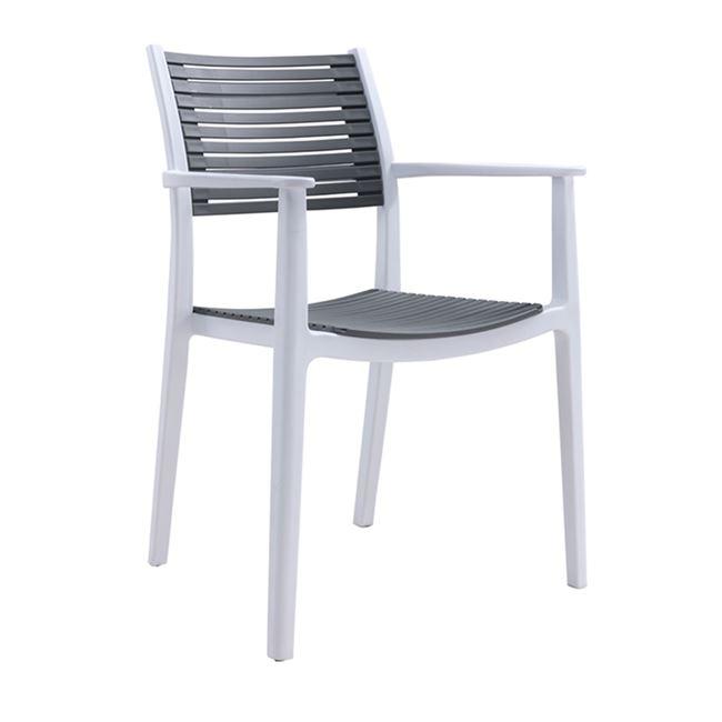 """Πολυθρόνα """"AKRON"""" πολυπροπυλενίου σε λευκό-γκρι χρώμα 58x54x86"""