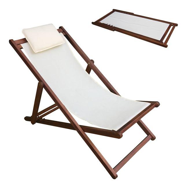 Σαιζ-λονγκ ξύλινο σε χρώμα εκρού 104x58x72