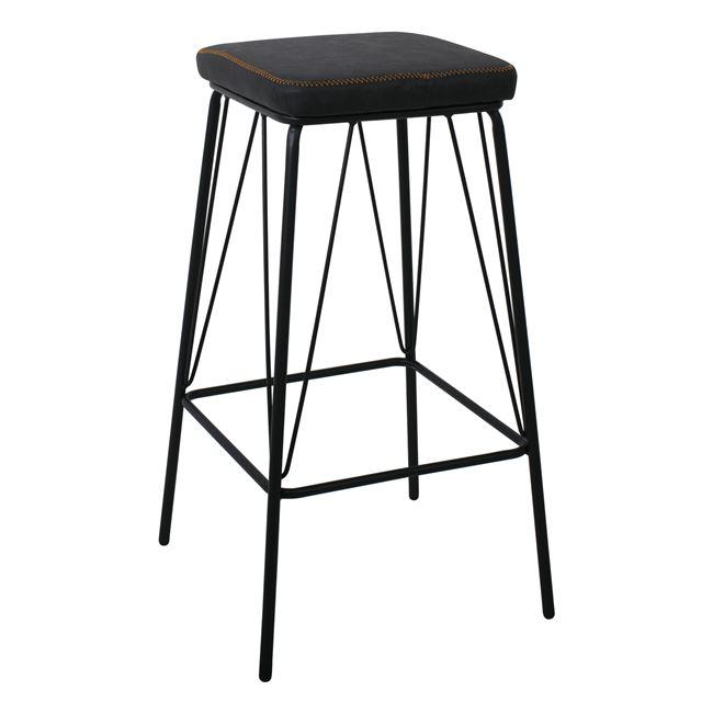 """Σκαμπώ bar """"PANTON"""" μεταλλικό με PVC, σε χρώμα μαύρο/vintage black,43x43x76cm"""