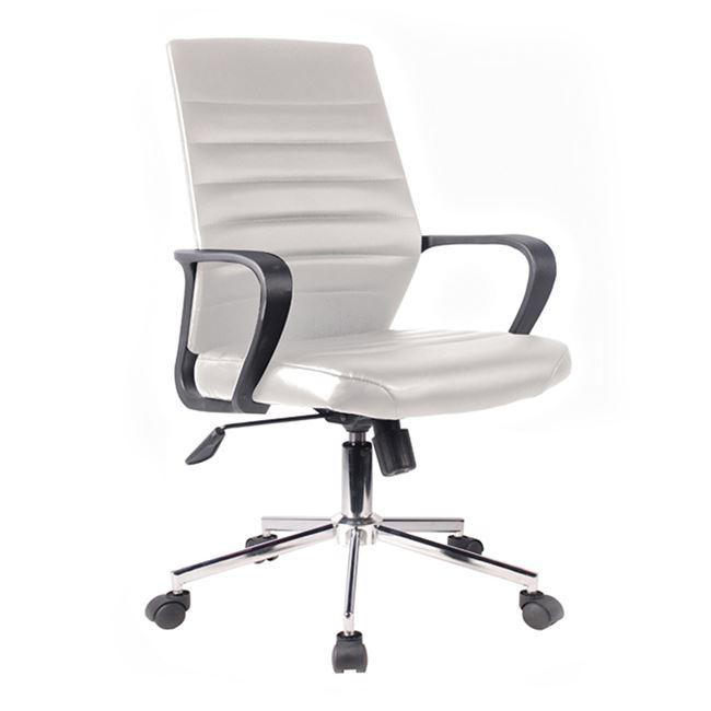 Πολυθρόνα εργασίας χρωμίου από τεχνόδερμα σε λευκό χρώμα 59x62x96/103