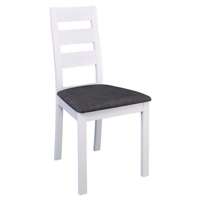 """Καρέκλα """"MILLER"""" ξύλινη-υφασμάτινη σε χρώμα λευκό-γκρι 45x52x97"""