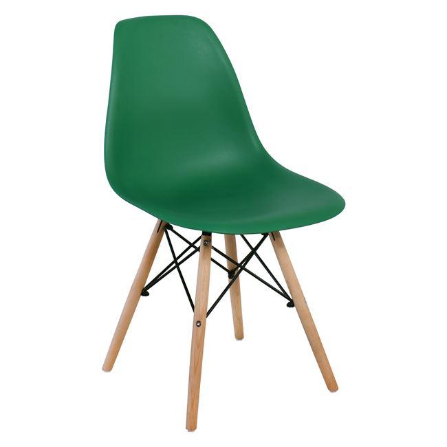 """Καρέκλα """"ART WOOD"""" ξύλινη-pp σε πράσινο χρώμα 46x52x82"""
