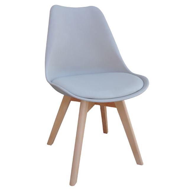 """Καρέκλα """"MARTIN"""" ξύλινη-pp σε χρώμα γκρι 49x57x82"""