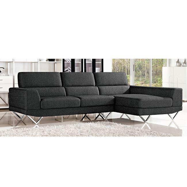 """Καναπές γωνία αριστερή """"TORINO"""" υφασμάτινος σε χρώμα ανθρακί 279x160x86"""