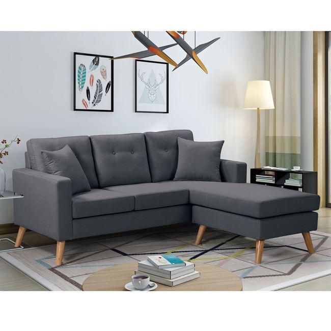 """Καναπές αναστρέψιμος """"ALAN"""" υφασμάτινος σε γκρι χρώμα 182x158x66/86"""
