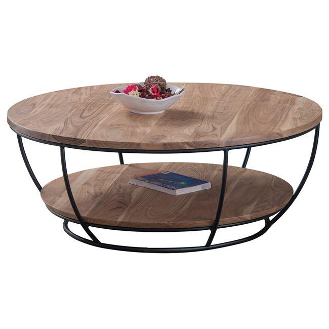 """Τραπέζακι σαλονιού """"ROY"""" ξύλινο-μεταλλικό σε μαύρο-φυσικό χρώμα Φ90×35"""