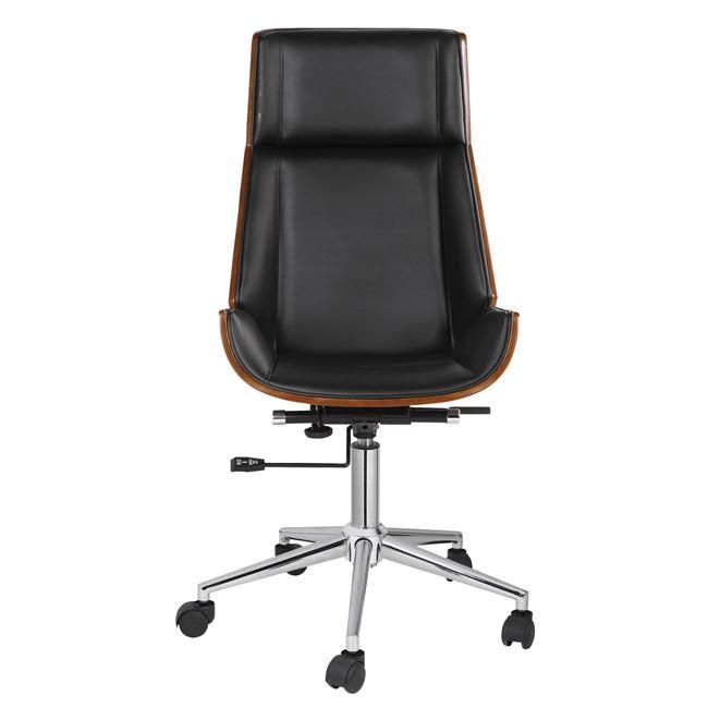 Πολυθρόνα διευθυντή ξύλινη-pu σε χρώμα μαύρο-καρύδι 65x66x109/117