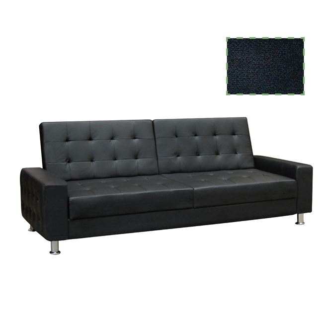 """Καναπές-κρεβάτι τριθέσιος """"MOBY"""" υφασμάτινος σε χρώμα μαύρο 217x80x81"""