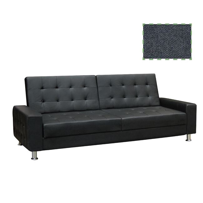 """Καναπές-κρεβάτι τριθέσιος """"MOBY"""" από ύφασμα στο χρώμα σκούρο γκρι 217x80x81"""