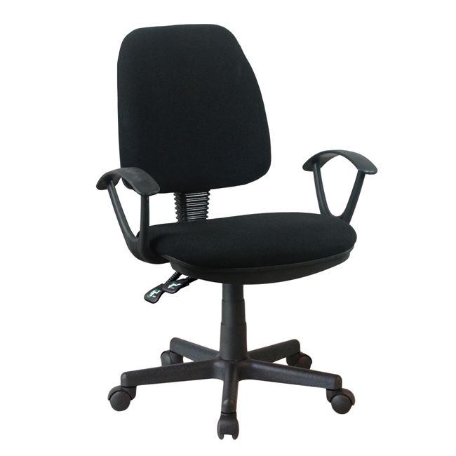 Πολυθρόνα εργασίας υφασμάτινη σε χρώμα μαύρο 62x55x102