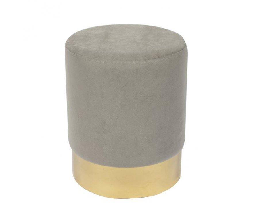 """Σκαμπό βοηθητικό """"SOL"""" από ύφασμα σε χρώμα γκρι Φ37x44"""