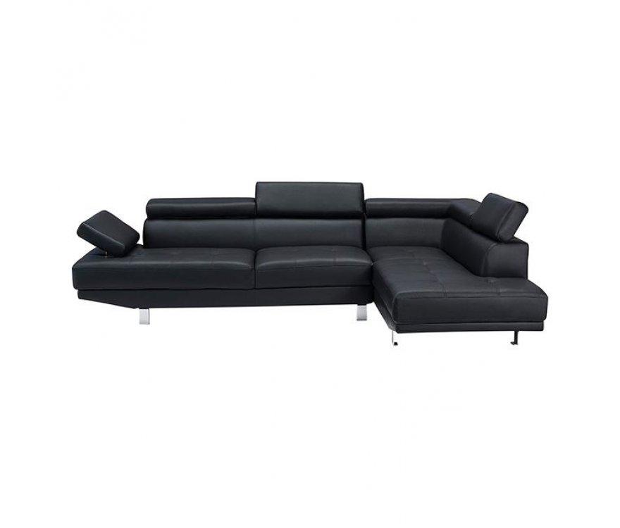 """Καναπές αριστερή γωνία """"SECTOR"""" από τεχνόδερμα σε χρώμα μαύρο 260x163x75"""