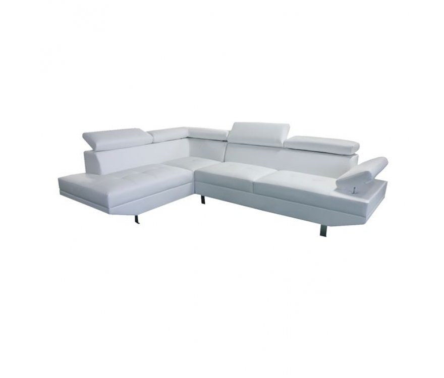 """Καναπές δεξιά γωνία """"SECTOR"""" από τεχνόδερμα σε χρώμα λευκό 260x163x75"""
