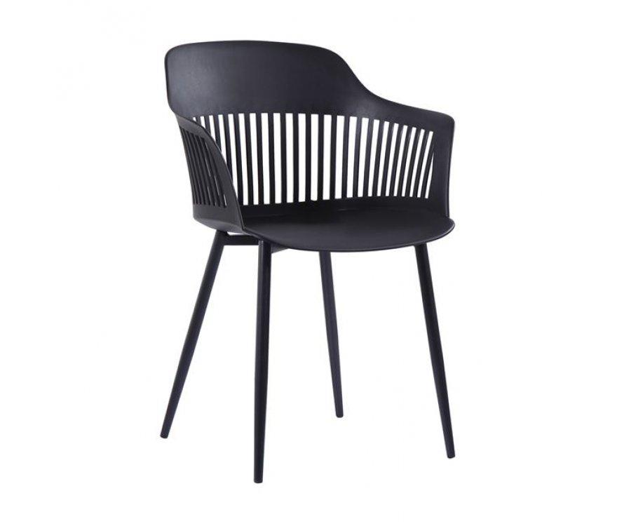 """Πολυθρόνα """"LOUISE"""" από μέταλλο/PP σε χρώμα μαύρο 53x59x82"""