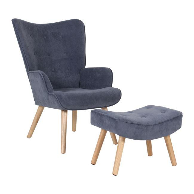 """Πολυθρόνα-σκαμπώ """"ALMA"""" βελούδινη σε ανοιχτό μπλε χρώμα 69x76x97"""