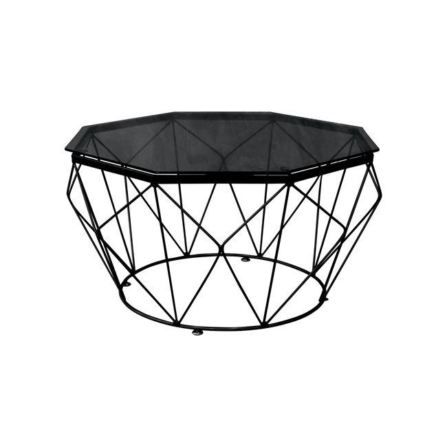"""Τραπέζι σαλονιού """"GRID"""" μεταλλικό με γυάλινη επιφανεια σε μαύρο χρώμα Φ87×45"""
