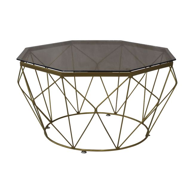 """Τραπέζι σαλονιού """"GRID"""" μεταλλικό με γυάλινη επιφανεια σε χρυσό χρώμα Φ87×45"""