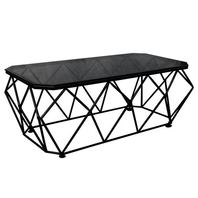 """Τραπέζι σαλονιού """"ACTON"""" μεταλλικό με γυάλινη επιφανεια σε μαύρο χρώμα 123x63x44"""