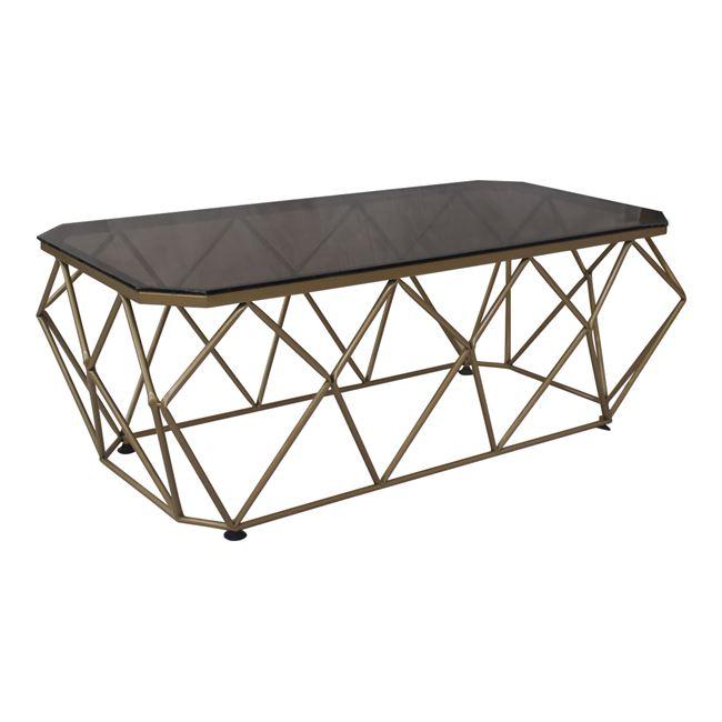 """Τραπέζι σαλονιού """"ACTON"""" μεταλλικό με γυάλινη επιφανεια σε χρυσό χρώμα 123x63x44"""