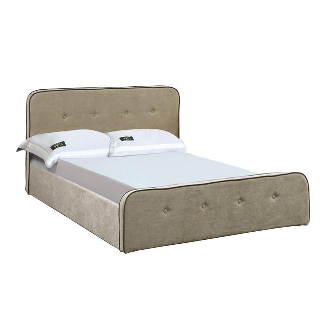 """Κρεβάτι διπλό """"ACCORD DUO"""" με αποθηκευτικό χώρο υφασμάτινο σε χρώμα μπεζ 175x216x89"""