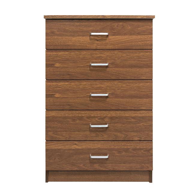 """Συρταριέρα """"DRAWER"""" με 5 συρτάρια σε χρώμα καρυδί 60x40x97"""