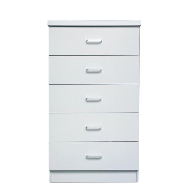 """Συρταριέρα """"DRAWER"""" με 5 συρτάρια σε χρώμα λευκό 60x40x97"""