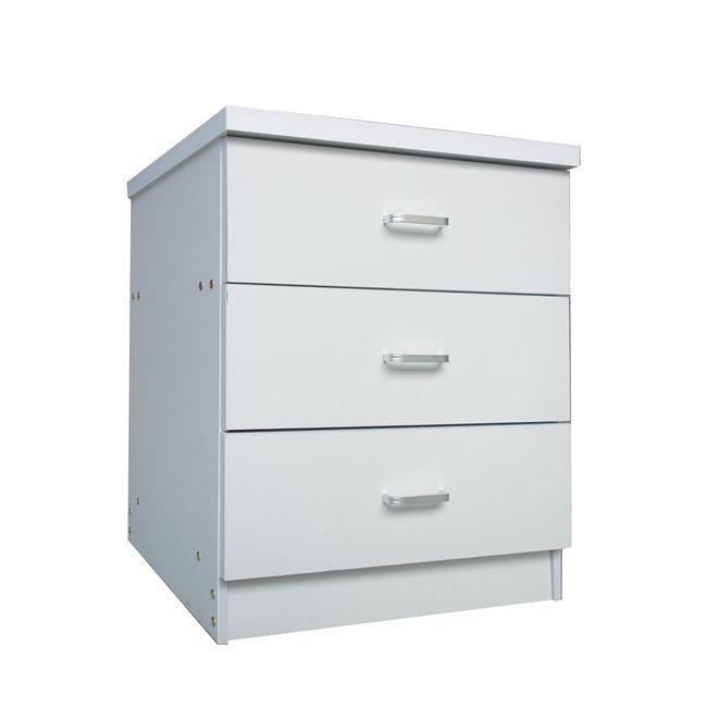 """Συρταριέρα """"DRAWER"""" με 3 συρτάρια σε χρώμα λευκό 60x40x63"""