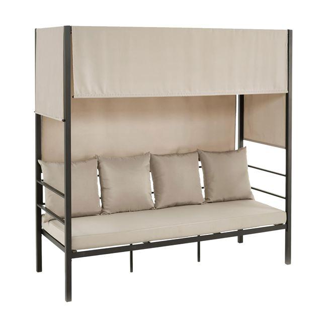 """Ξαπλώστρα-κρεβάτι """"SKY"""" από μέταλλο/ύφασμα σε χρώμα εκρού/ανθρακί 200x80x200"""