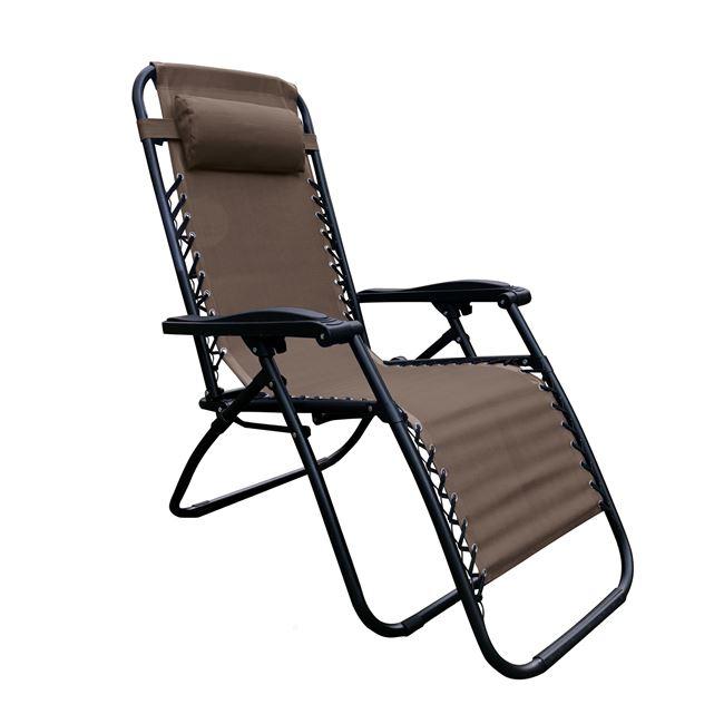 """Πολυθρόνα """"SUPER RELAX"""" από μέταλλο/ύφασμα σε χρώμα καφέ/ανθρακί 165x65x112"""