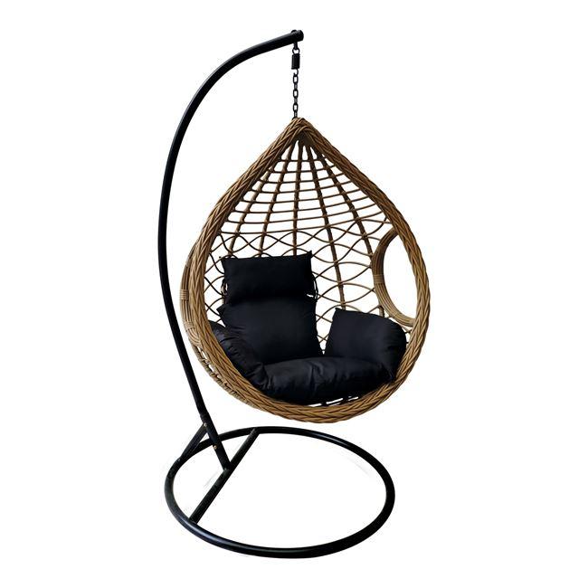 """Κρεμαστή πολυθρόνα """"MADRID"""" από μέταλλο/wicker σε χρώμα φυσικό/μαύρο Φ105×197"""