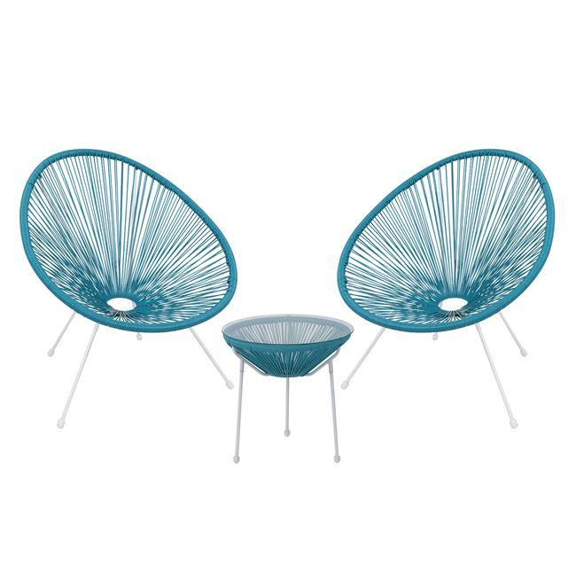 """Σετ εξωτερικού χώρου """"ACAPULCO"""" από μέταλλο/rattan σε χρώμα μπλε/λευκό Φ50×50"""