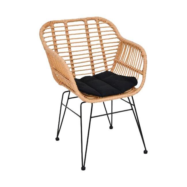 """Πολυθρόνα """"SALSA"""" από μέταλλο/wicker σε χρώμα μαύρο/φυσικό 55x56x82"""