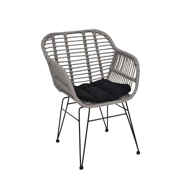 """Πολυθρόνα """"SALSA"""" από μέταλλο/wicker σε χρώμα γκρι/μαύρο 55x56x82"""