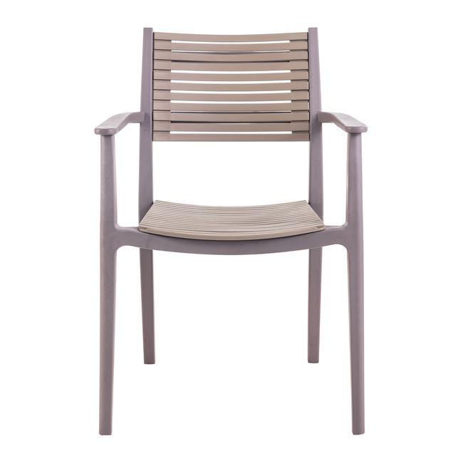 """Πολυθρόνα """"AKRON"""" από PP στο χρώμα της άμμου/καφέ 60x55x85"""