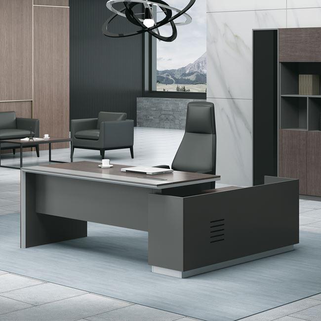 """Γραφείο """"ADVANCE"""" αριστερή γωνία σε σκούρο καρυδί-γκρι χρώμα 180×80/160×40/75"""