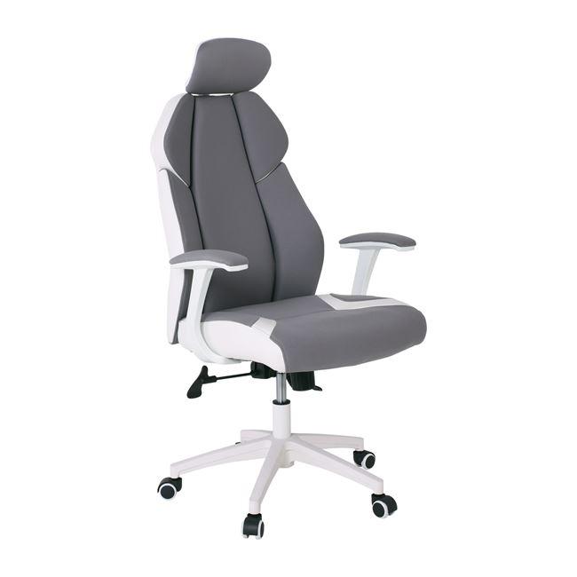 Πολυθρόνα διευθυντή από microfiber-pu σε γκρι-λευκό χρώμα 64x72x122/130