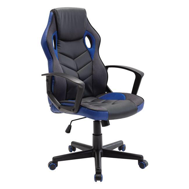 Πολυθρόνα διευθυντή από ύφασμα mesh-pu σε μαύρο-μπλε χρώμα 62x59x105/117