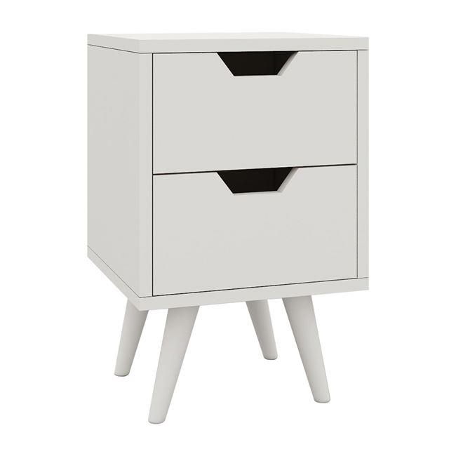 """Κομοδίνο """"ALINA"""" με δύο συρτάρια σε χρώμα λευκό 29x29x44"""