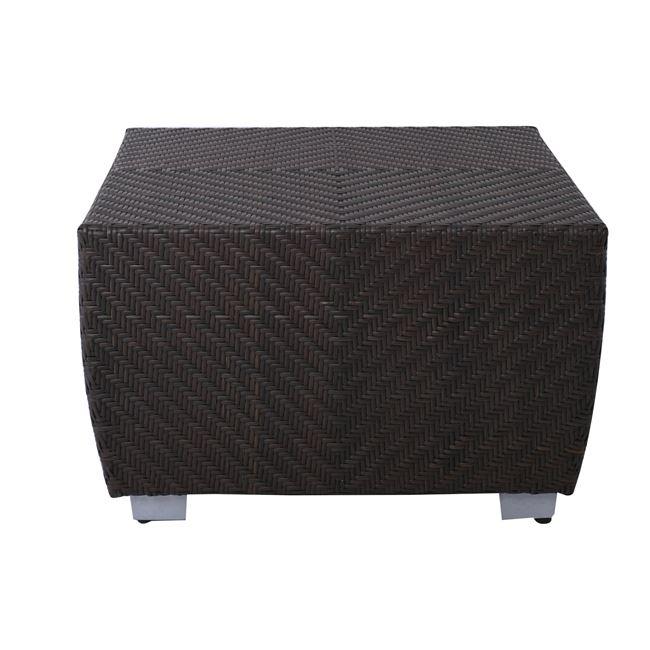 """Τραπέζι σαλονιού """"IMPERIUM"""" από wicker/γυαλί σε χρώμα καφέ 77×77"""