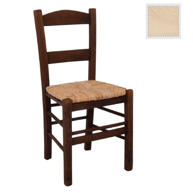 """Καρέκλα """"ΣΥΡΟΣ"""" άβαφη από ξυλο/ψάθα 41x45x88"""